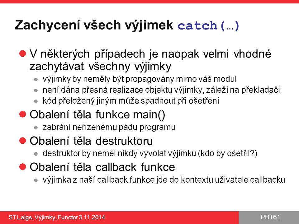 Zachycení všech výjimek catch(…)