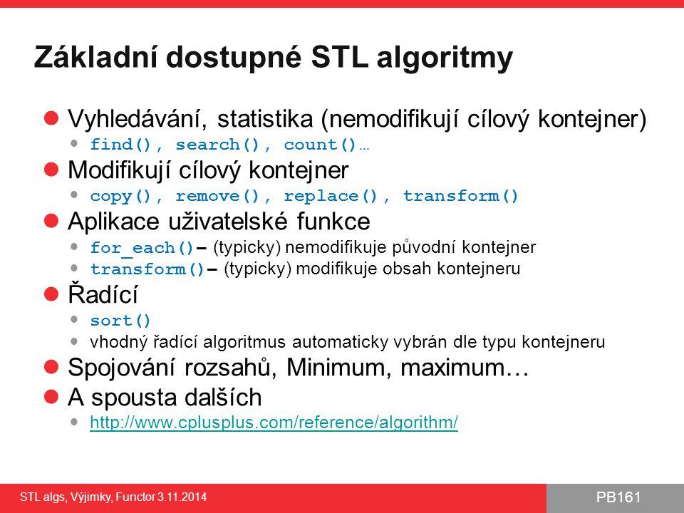 Základní dostupné STL algoritmy