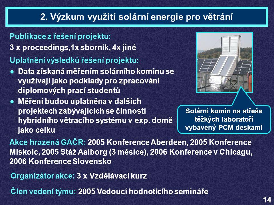 2. Výzkum využití solární energie pro větrání