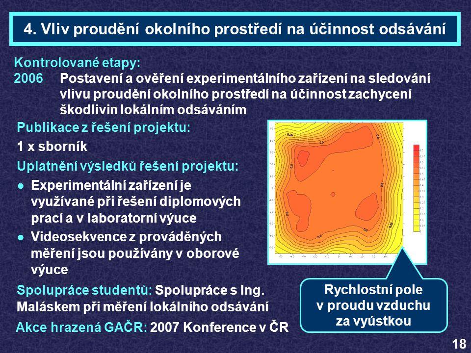 4. Vliv proudění okolního prostředí na účinnost odsávání