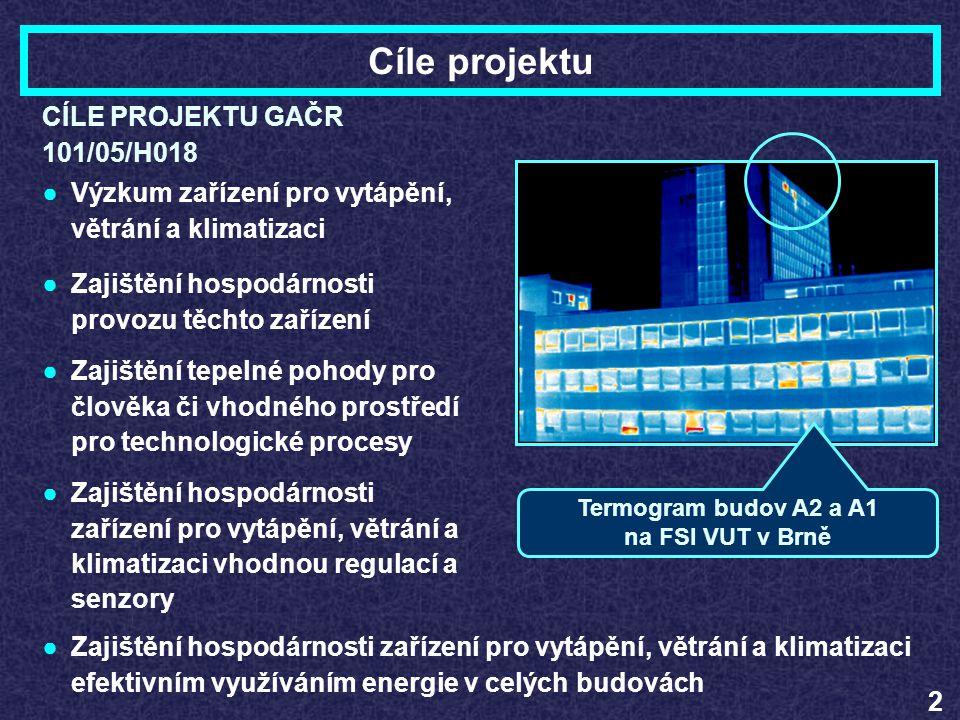 Termogram budov A2 a A1 na FSI VUT v Brně