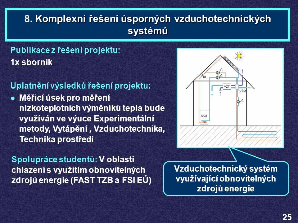 8. Komplexní řešení úsporných vzduchotechnických systémů