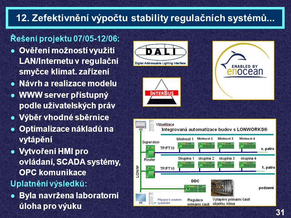 12. Zefektivnění výpočtu stability regulačních systémů...