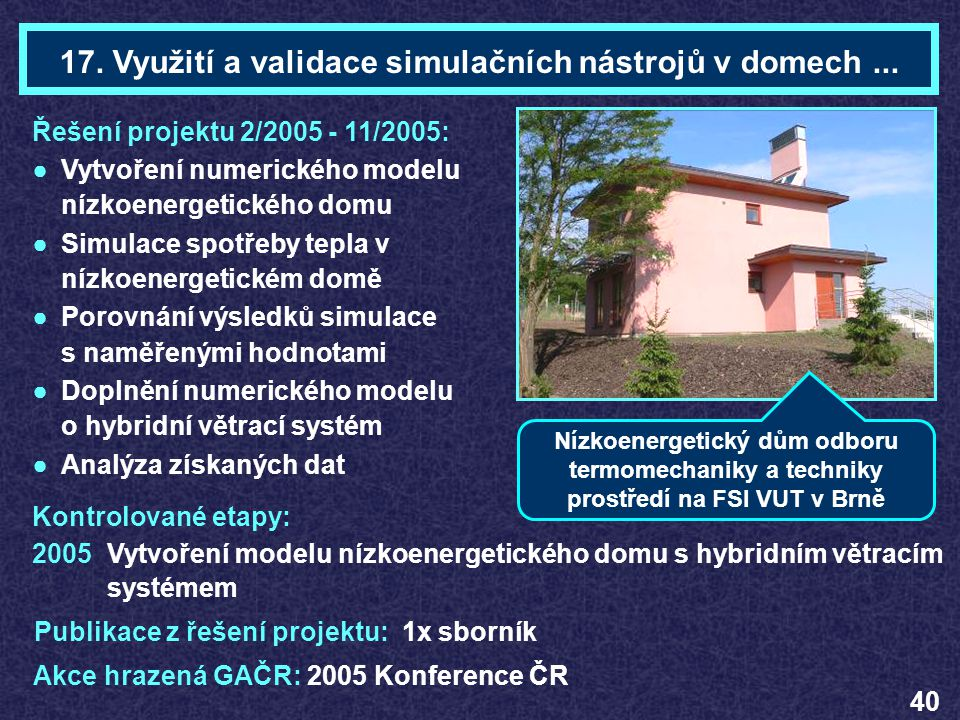 17. Využití a validace simulačních nástrojů v domech ...