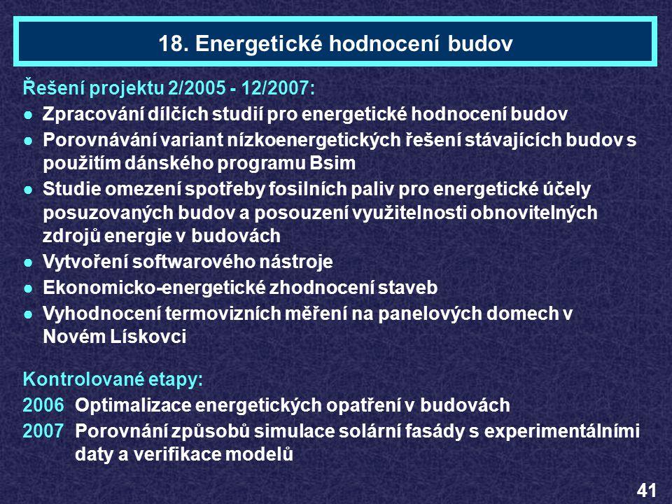 18. Energetické hodnocení budov