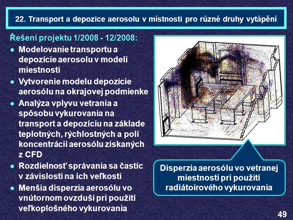 22. Transport a depozice aerosolu v místnosti pro různé druhy vytápění