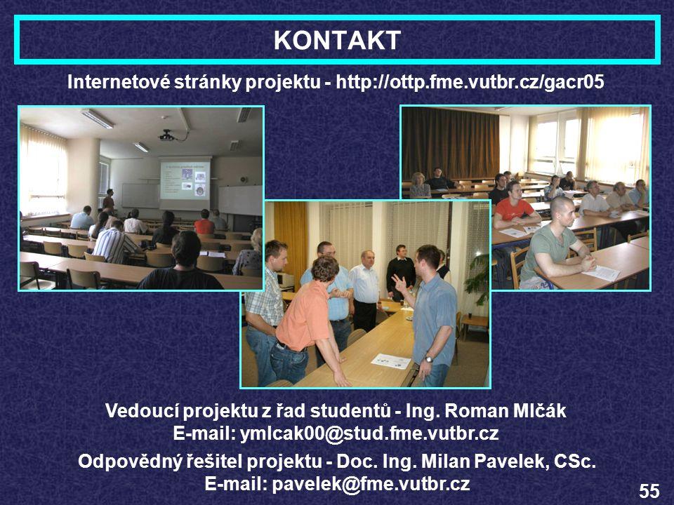 KONTAKT Internetové stránky projektu - http://ottp.fme.vutbr.cz/gacr05
