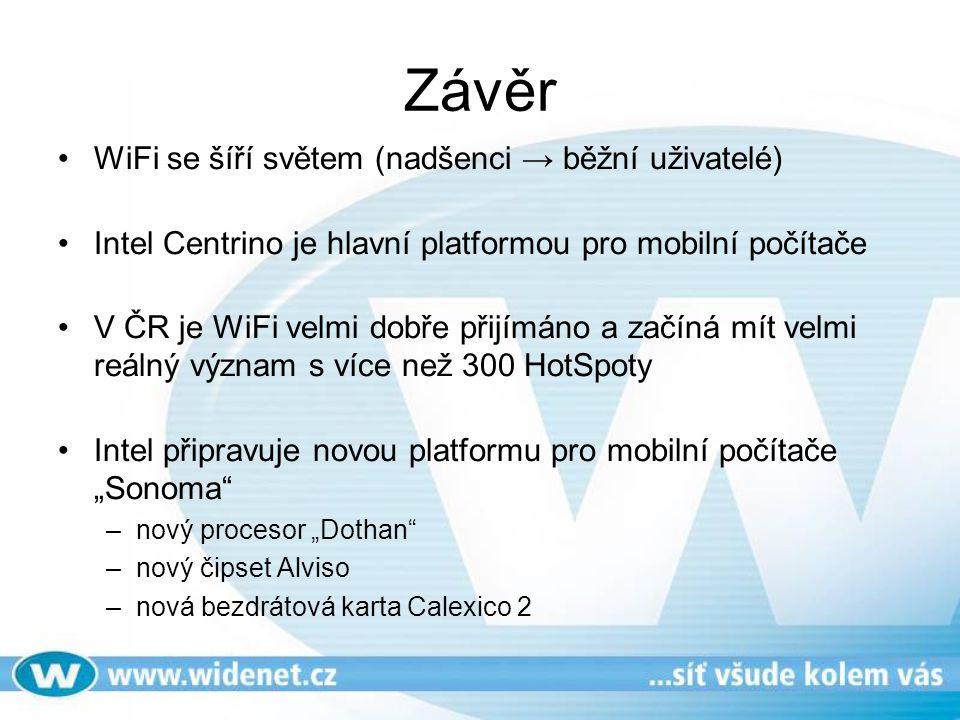 Závěr WiFi se šíří světem (nadšenci → běžní uživatelé)