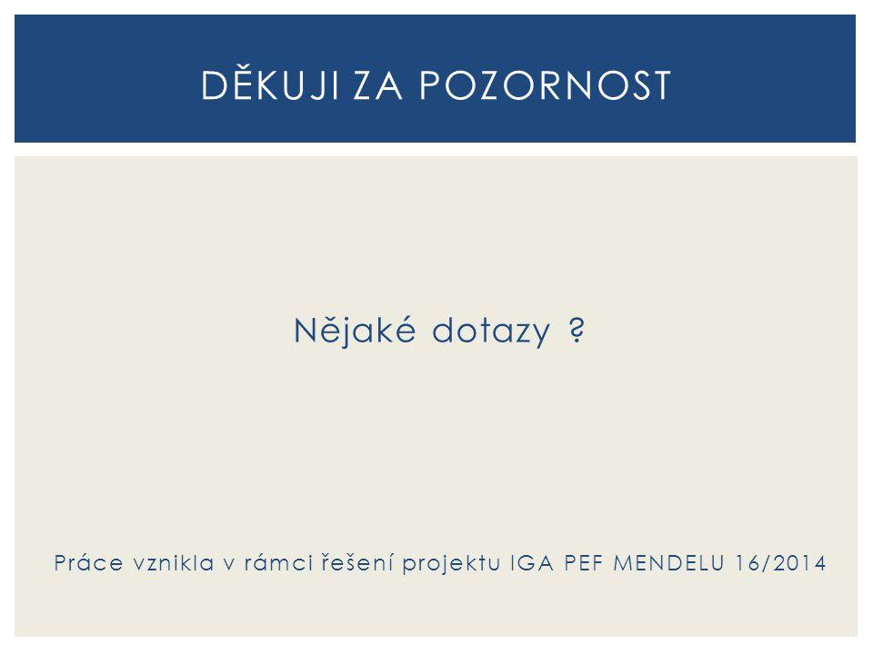 Práce vznikla v rámci řešení projektu IGA PEF MENDELU 16/2014