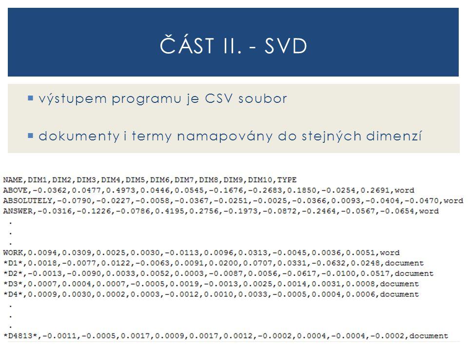 část II. - sVD výstupem programu je CSV soubor