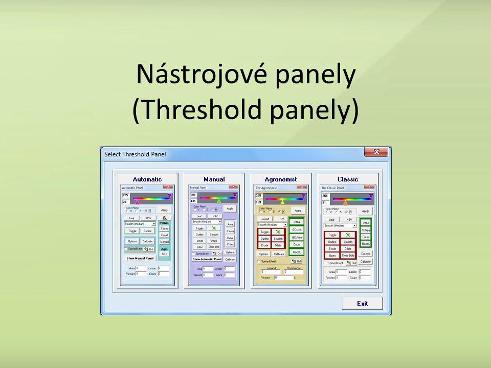 Nástrojové panely (Threshold panely)