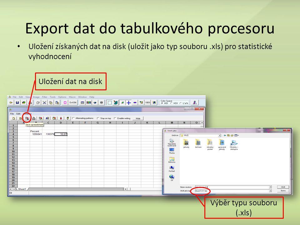 Export dat do tabulkového procesoru