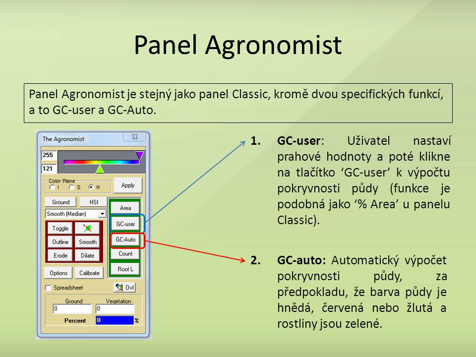 Panel Agronomist Panel Agronomist je stejný jako panel Classic, kromě dvou specifických funkcí, a to GC-user a GC-Auto.
