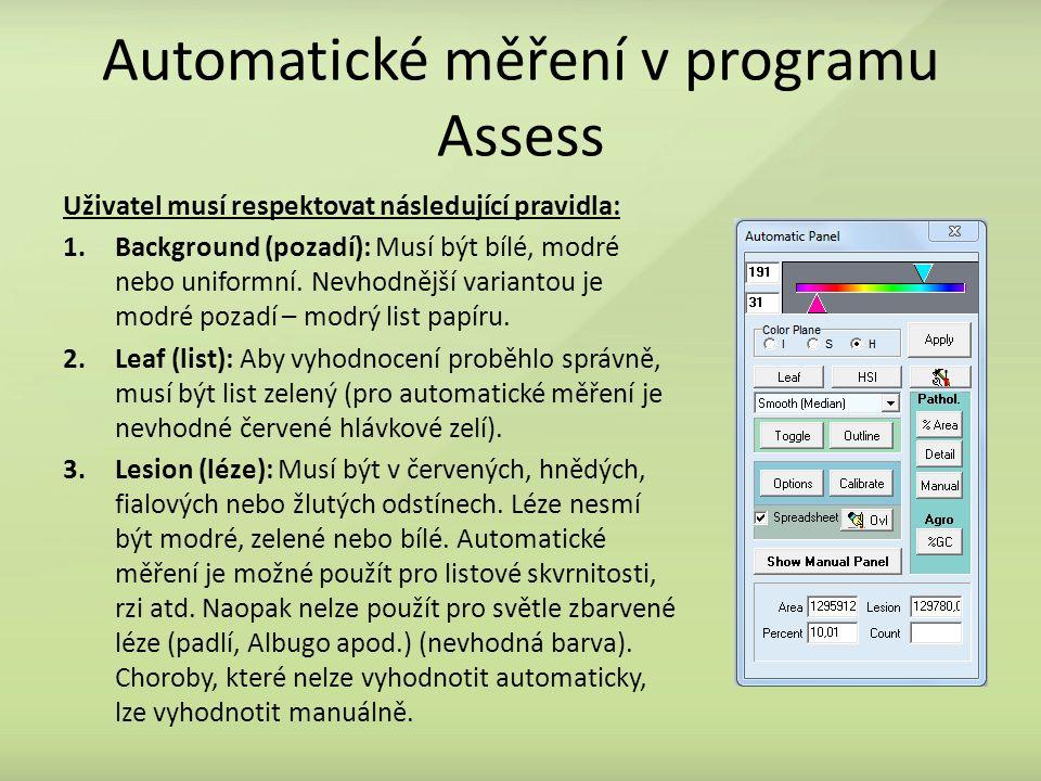 Automatické měření v programu Assess