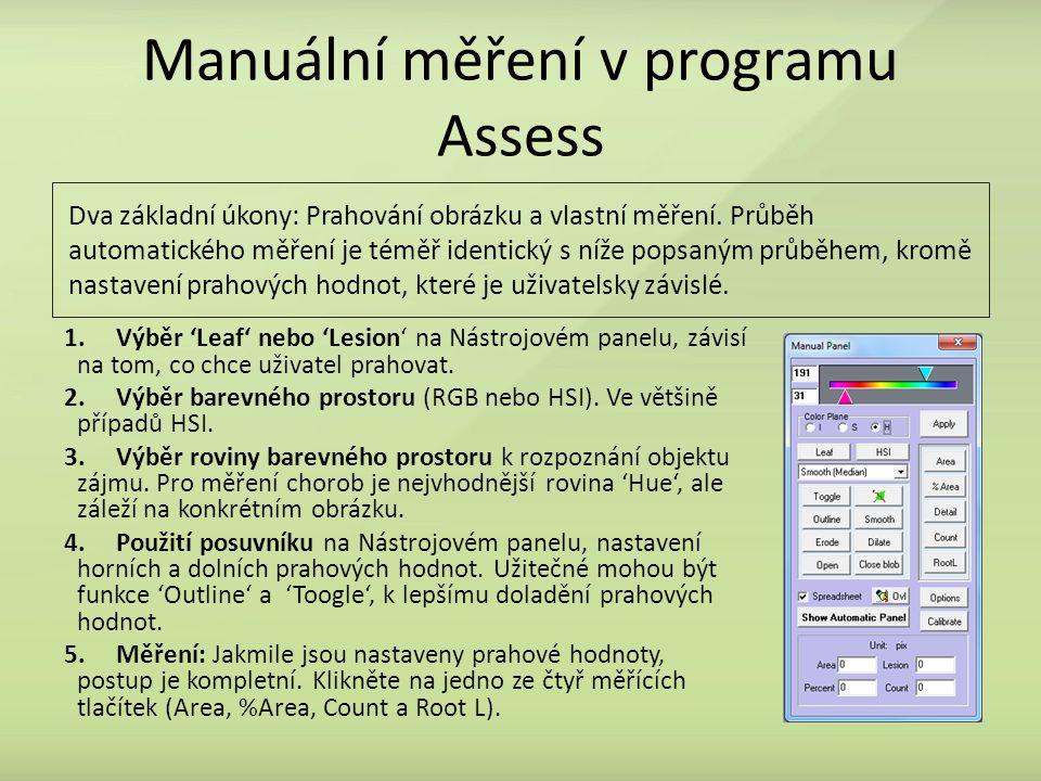 Manuální měření v programu Assess