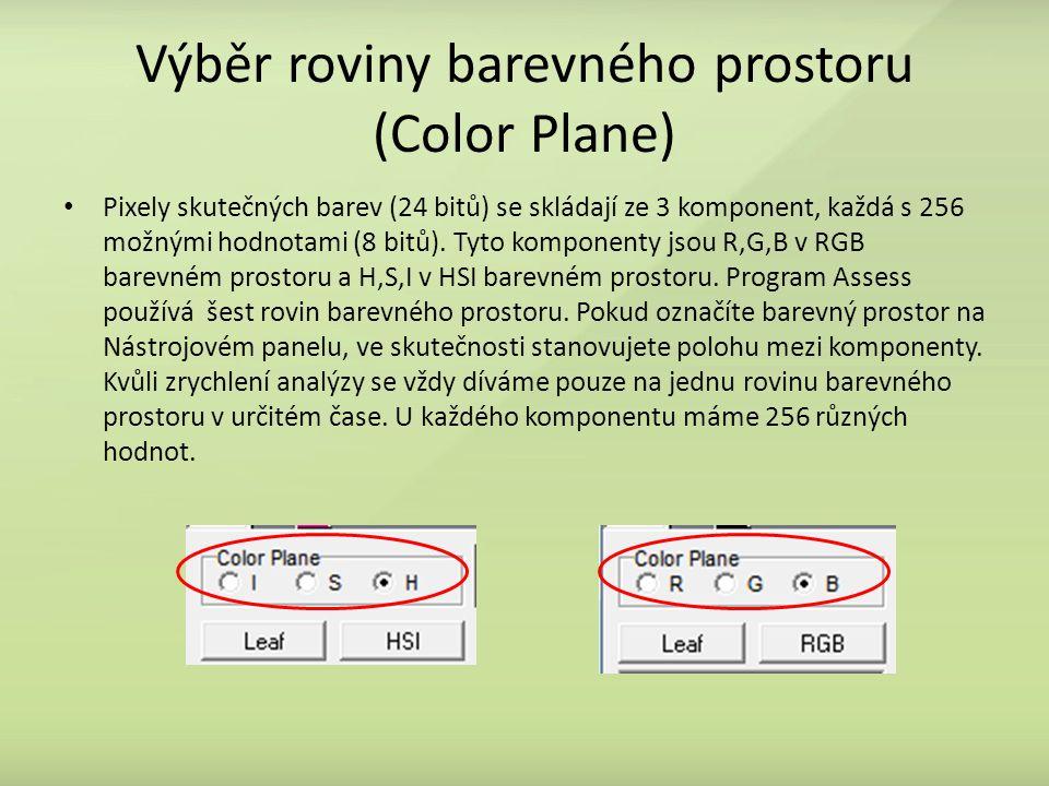 Výběr roviny barevného prostoru (Color Plane)