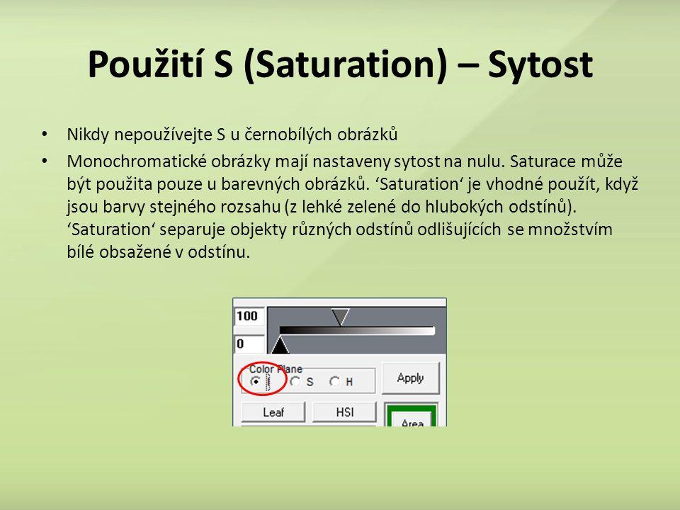 Použití S (Saturation) – Sytost