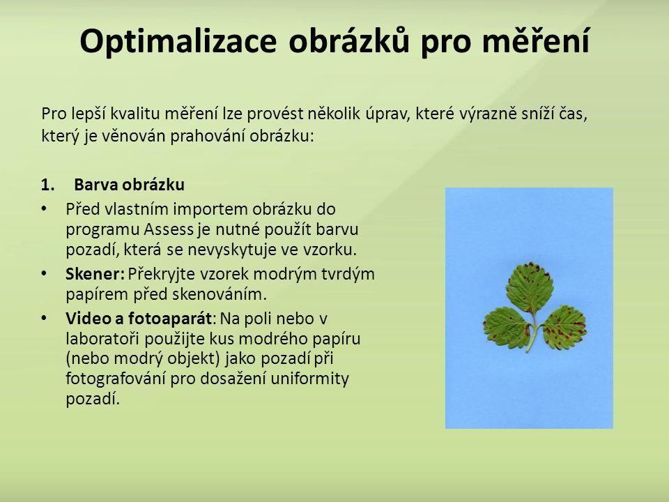 Optimalizace obrázků pro měření