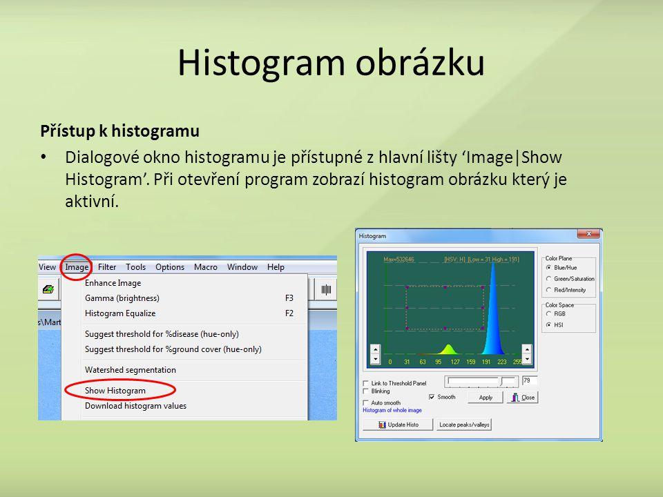 Histogram obrázku Přístup k histogramu