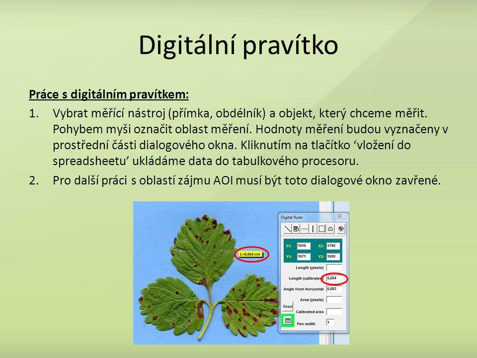 Digitální pravítko Práce s digitálním pravítkem: