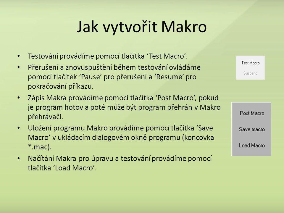 Jak vytvořit Makro Testování provádíme pomocí tlačítka 'Test Macro'.
