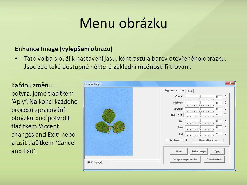 Menu obrázku Enhance Image (vylepšení obrazu)
