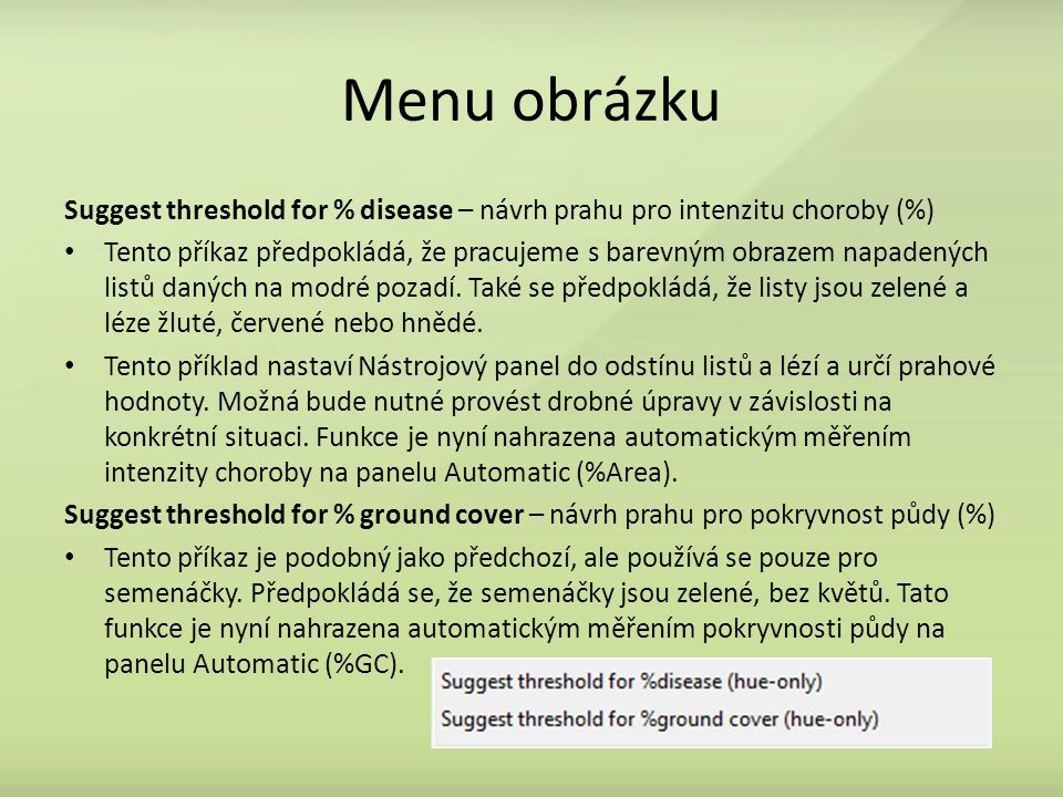 Menu obrázku Suggest threshold for % disease – návrh prahu pro intenzitu choroby (%)