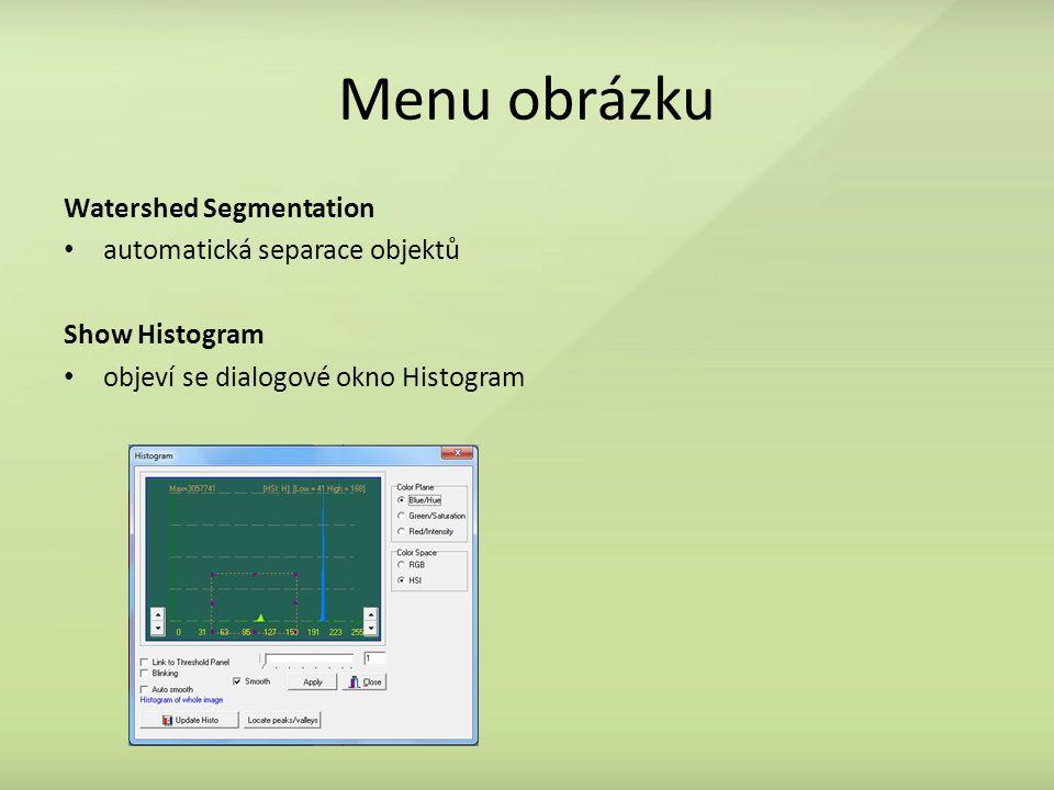 Menu obrázku Watershed Segmentation automatická separace objektů