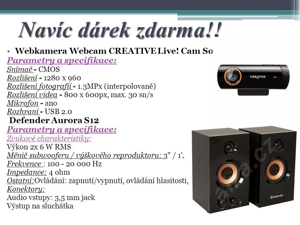 Navíc dárek zdarma!! Webkamera Webcam CREATIVE Live! Cam Socialize