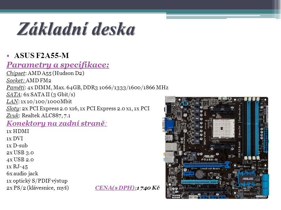 Základní deska ASUS F2A55-M Parametry a specifikace:
