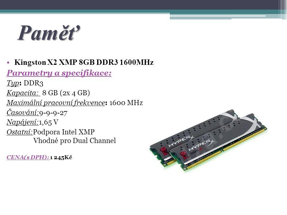 Paměť Kingston X2 XMP 8GB DDR3 1600MHz Parametry a specifikace: