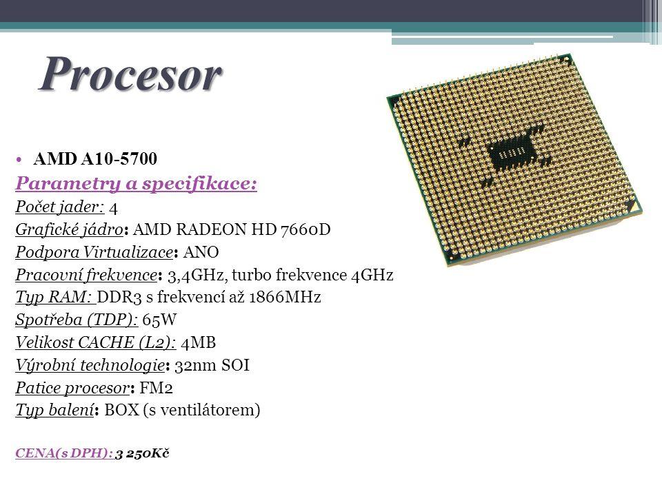Procesor AMD A10-5700 Parametry a specifikace: Počet jader: 4