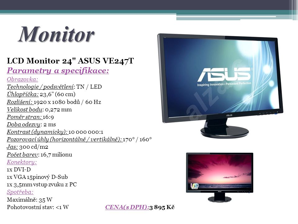 Monitor LCD Monitor 24 ASUS VE247T Parametry a specifikace: