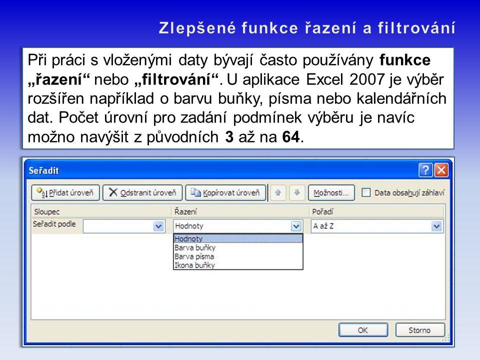 Zlepšené funkce řazení a filtrování