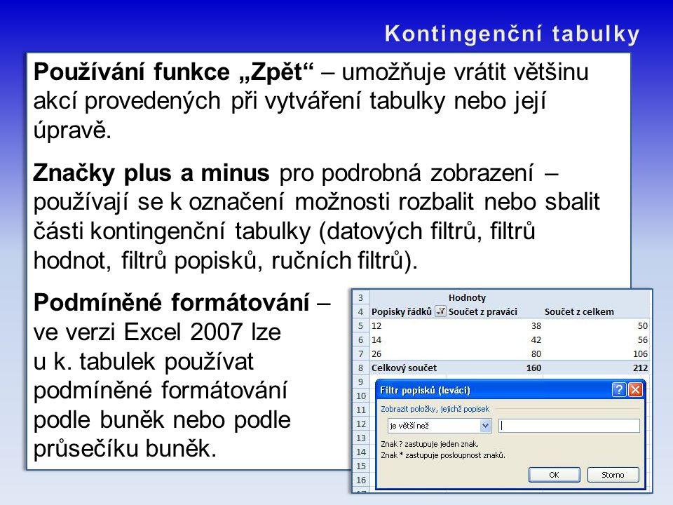 Podmíněné formátování – ve verzi Excel 2007 lze u k. tabulek používat