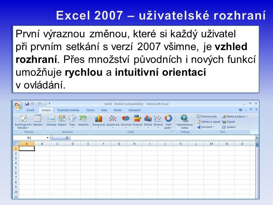 Excel 2007 – uživatelské rozhraní