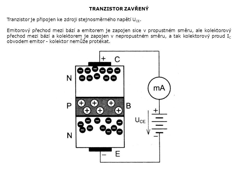 TRANZISTOR ZAVŘENÝ Tranzistor je připojen ke zdroji stejnosměrného napětí UCE.