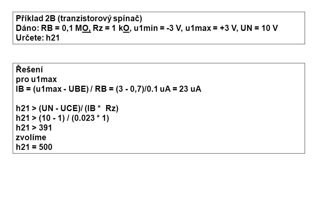 Příklad 2B (tranzistorový spínač)