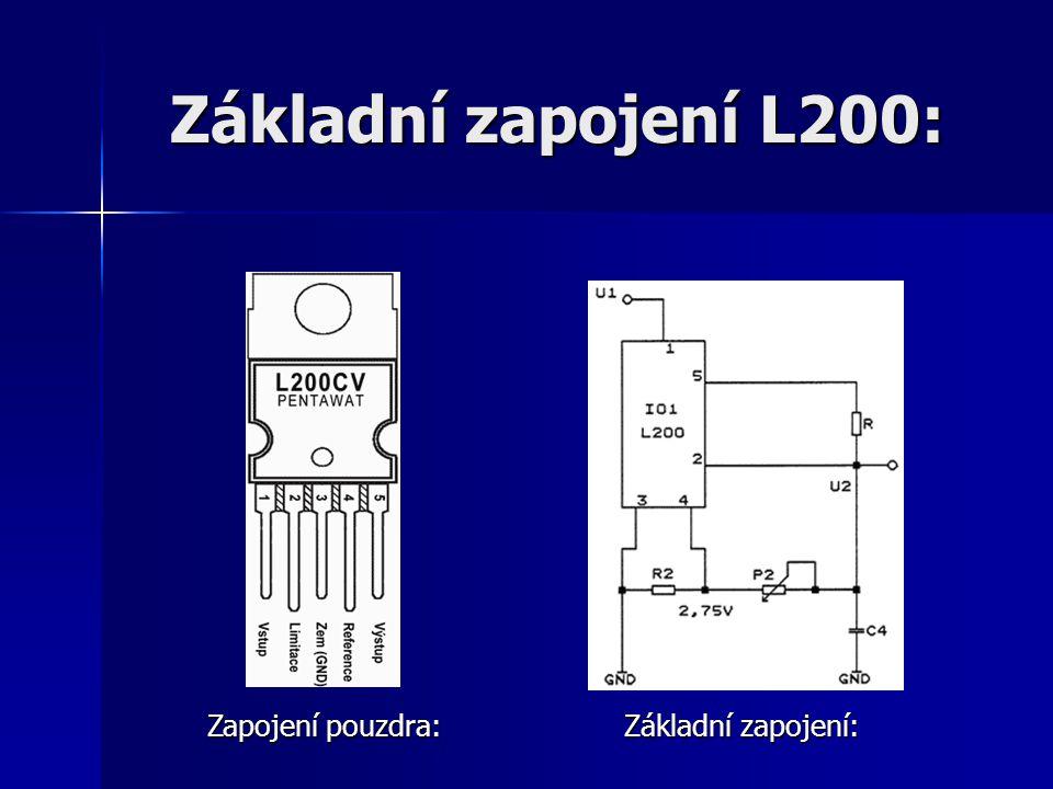 Základní zapojení L200: Zapojení pouzdra: Základní zapojení: