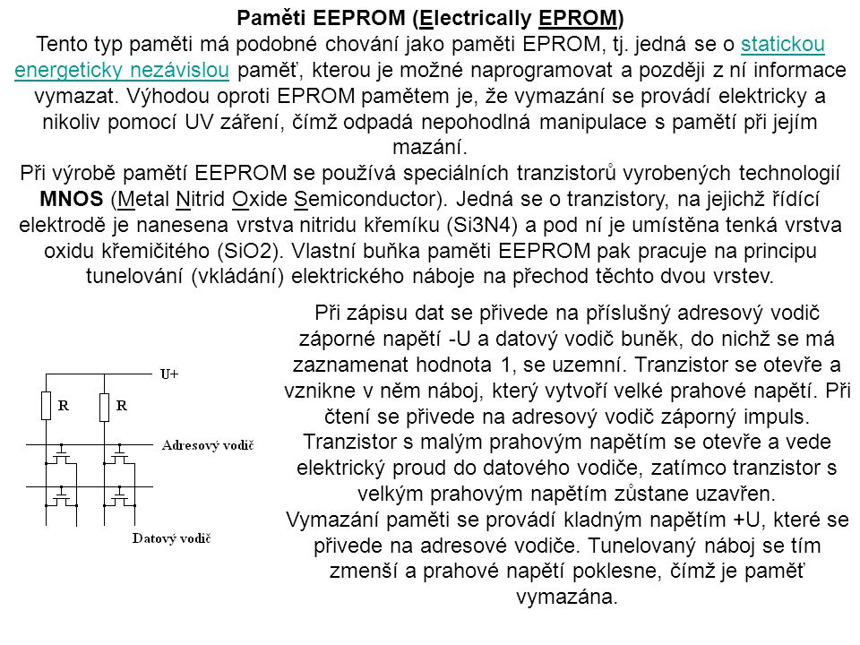 Paměti EEPROM (Electrically EPROM)