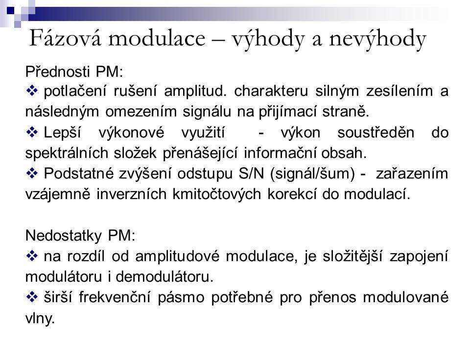 Fázová modulace – výhody a nevýhody