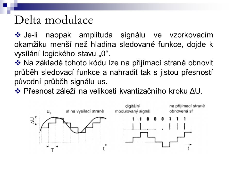 """Delta modulace Je-li naopak amplituda signálu ve vzorkovacím okamžiku menší než hladina sledované funkce, dojde k vysílání logického stavu """"0 ."""