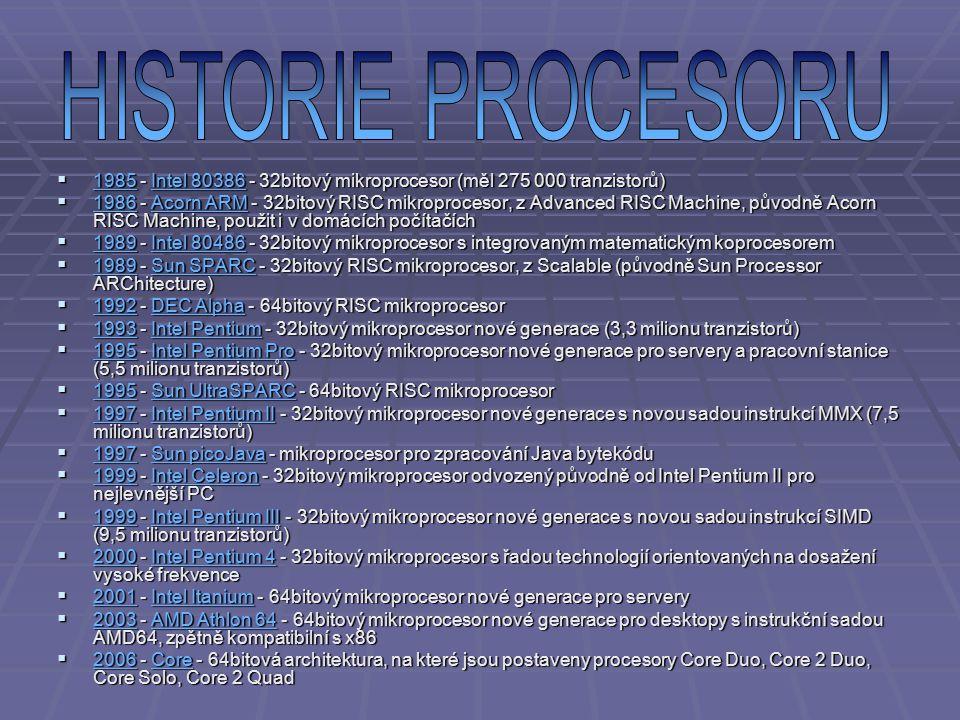 HISTORIE PROCESORU 1985 - Intel 80386 - 32bitový mikroprocesor (měl 275 000 tranzistorů)