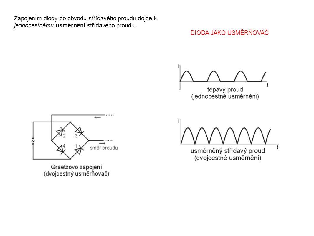 Zapojením diody do obvodu střídavého proudu dojde k jednocestnému usměrnění střídavého proudu.