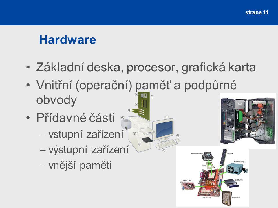 Základní deska, procesor, grafická karta