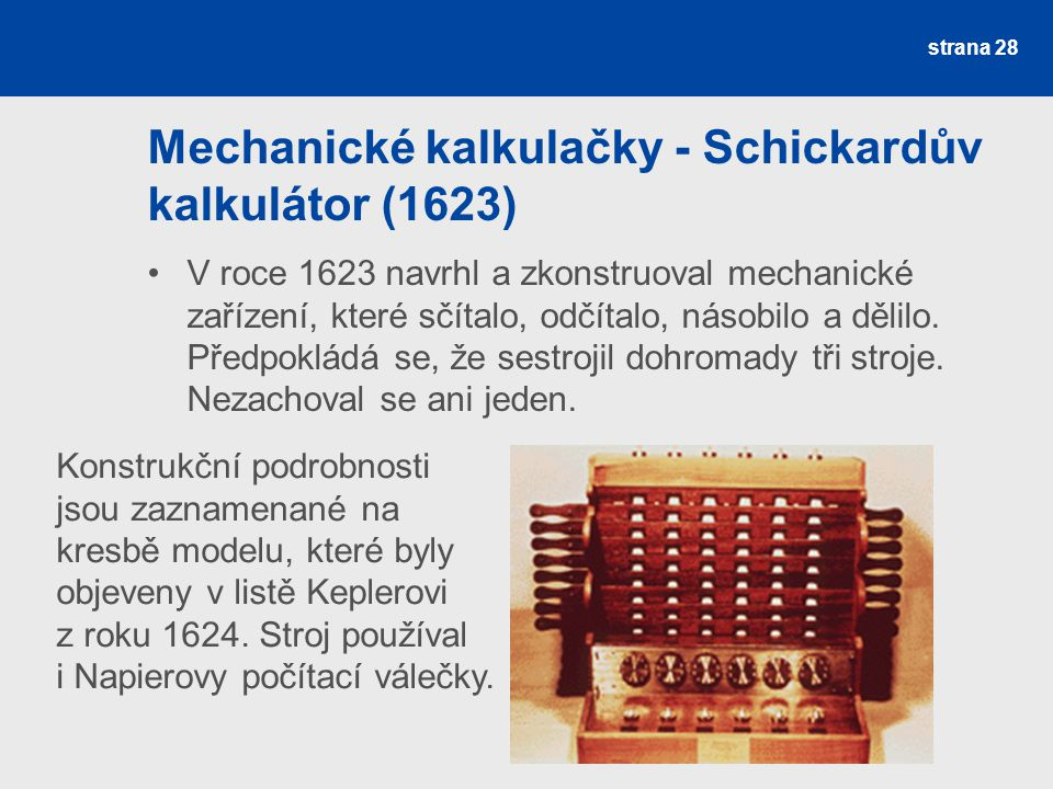 Mechanické kalkulačky - Schickardův kalkulátor (1623)