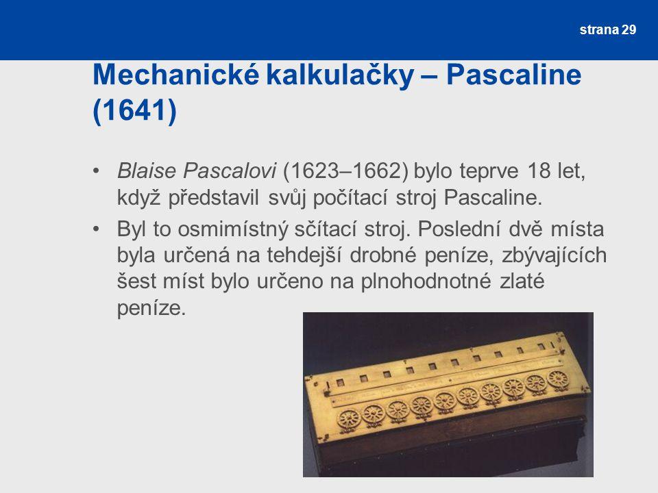 Mechanické kalkulačky – Pascaline (1641)
