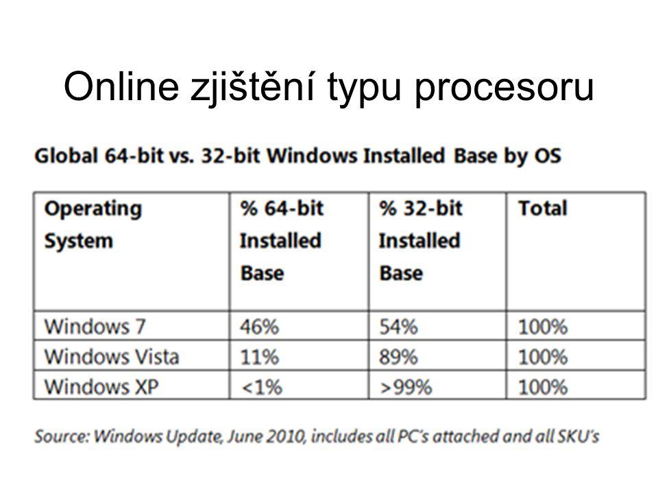 Online zjištění typu procesoru