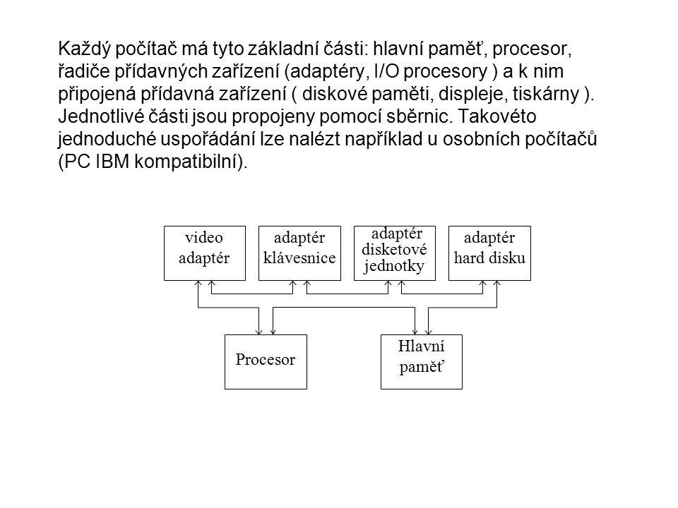 Každý počítač má tyto základní části: hlavní paměť, procesor, řadiče přídavných zařízení (adaptéry, I/O procesory ) a k nim připojená přídavná zařízení ( diskové paměti, displeje, tiskárny ). Jednotlivé části jsou propojeny pomocí sběrnic. Takovéto jednoduché uspořádání lze nalézt například u osobních počítačů (PC IBM kompatibilní).