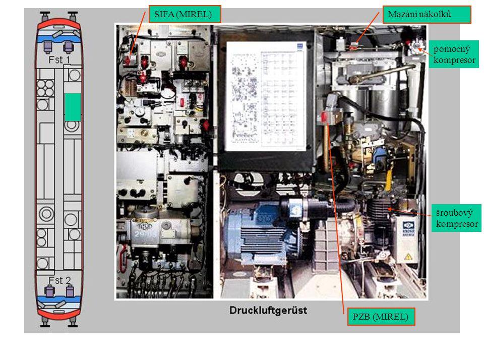 SIFA (MIREL) Mazání nákolků pomocný kompresor šroubový kompresor PZB (MIREL)
